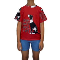 Dog person Kids  Short Sleeve Swimwear