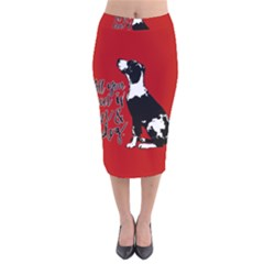 Dog person Velvet Midi Pencil Skirt