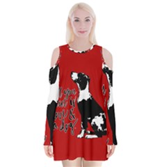 Dog person Velvet Long Sleeve Shoulder Cutout Dress