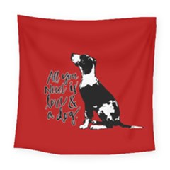 Dog person Square Tapestry (Large)