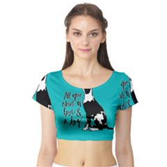 Dog person Short Sleeve Crop Top (Tight Fit)