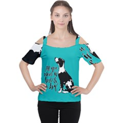 Dog person Women s Cutout Shoulder Tee