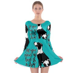 Dog person Long Sleeve Skater Dress