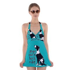 Dog person Halter Swimsuit Dress