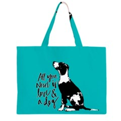 Dog person Zipper Large Tote Bag
