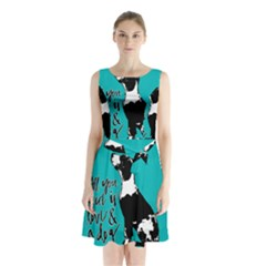 Dog person Sleeveless Chiffon Waist Tie Dress
