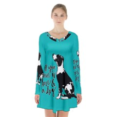 Dog person Long Sleeve Velvet V-neck Dress