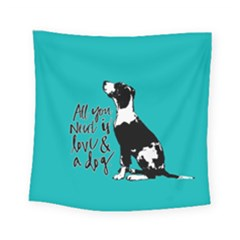 Dog person Square Tapestry (Small)