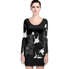 Dog person Long Sleeve Velvet Bodycon Dress