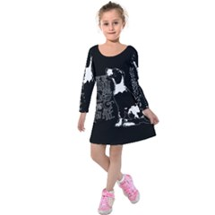 Dog person Kids  Long Sleeve Velvet Dress