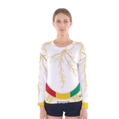 Coat of Arms of Republic of Guinea  Women s Long Sleeve Tee