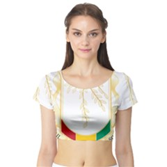 Coat of Arms of Republic of Guinea  Short Sleeve Crop Top (Tight Fit)