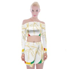 Coat Of Arms Of Republic Of Guinea  Off Shoulder Top With Skirt Set