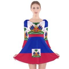 Flag of Haiti  Long Sleeve Velvet Skater Dress