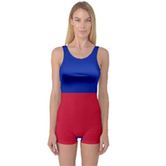 Civil Flag of Haiti (Without Coat of Arms) One Piece Boyleg Swimsuit
