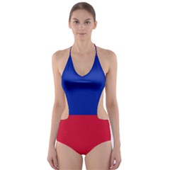 Civil Flag of Haiti (Without Coat of Arms) Cut-Out One Piece Swimsuit
