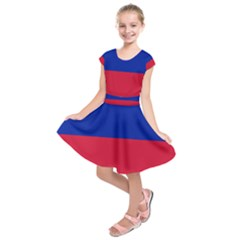 Civil Flag of Haiti (Without Coat of Arms) Kids  Short Sleeve Dress