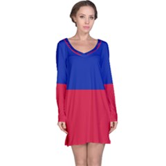 Civil Flag of Haiti (Without Coat of Arms) Long Sleeve Nightdress