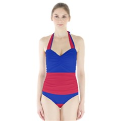 Civil Flag of Haiti (Without Coat of Arms) Halter Swimsuit