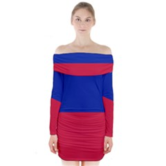 Civil Flag of Haiti (Without Coat of Arms) Long Sleeve Off Shoulder Dress