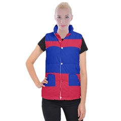 Civil Flag Of Haiti (without Coat Of Arms) Women s Button Up Puffer Vest
