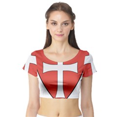 Coat of Arms of Apostolic Kingdom of Hungary, 1172-1196 Short Sleeve Crop Top (Tight Fit)
