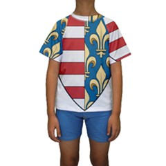 Angevins Dynasty of Hungary Coat of Arms Kids  Short Sleeve Swimwear