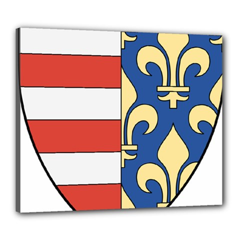 Angevins Dynasty of Hungary Coat of Arms Canvas 24  x 20