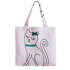Cute Cat Character Zipper Grocery Tote Bag
