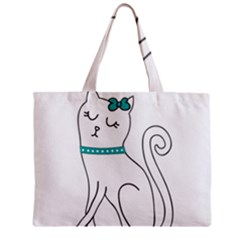 Cute Cat Character Zipper Mini Tote Bag