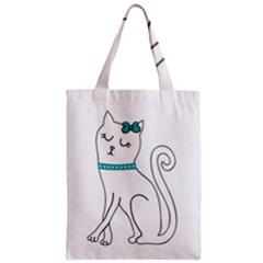 Cute Cat Character Zipper Classic Tote Bag