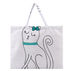 Cute Cat Character Zipper Large Tote Bag