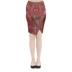 Frog Pattern Midi Wrap Pencil Skirt