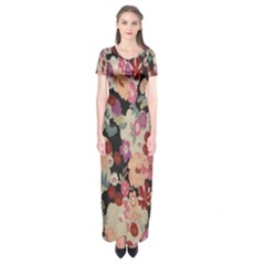 Japanese Ethnic Pattern Short Sleeve Maxi Dress