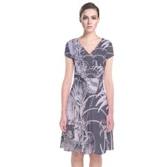 Chinese Dragon Tattoo Short Sleeve Front Wrap Dress
