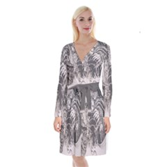 Chinese Dragon Tattoo Long Sleeve Velvet Front Wrap Dress