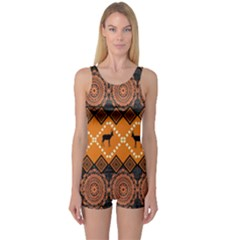 Traditiona  Patterns And African Patterns One Piece Boyleg Swimsuit