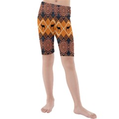 Traditiona  Patterns And African Patterns Kids  Mid Length Swim Shorts