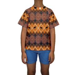 Traditiona  Patterns And African Patterns Kids  Short Sleeve Swimwear