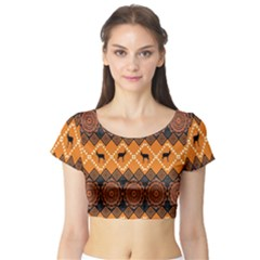 Traditiona  Patterns And African Patterns Short Sleeve Crop Top (Tight Fit)
