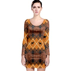 Traditiona  Patterns And African Patterns Long Sleeve Bodycon Dress