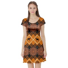 Traditiona  Patterns And African Patterns Short Sleeve Skater Dress