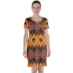 Traditiona  Patterns And African Patterns Short Sleeve Nightdress
