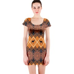 Traditiona  Patterns And African Patterns Short Sleeve Bodycon Dress