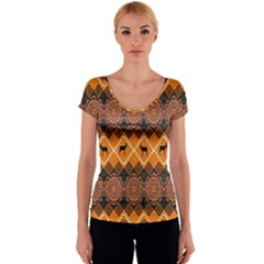 Traditiona  Patterns And African Patterns Women s V-Neck Cap Sleeve Top