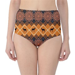 Traditiona  Patterns And African Patterns High-Waist Bikini Bottoms