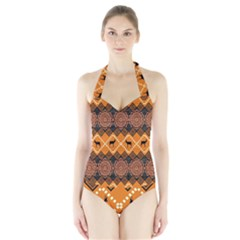 Traditiona  Patterns And African Patterns Halter Swimsuit