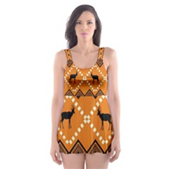 Traditiona  Patterns And African Patterns Skater Dress Swimsuit