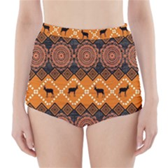 Traditiona  Patterns And African Patterns High-Waisted Bikini Bottoms
