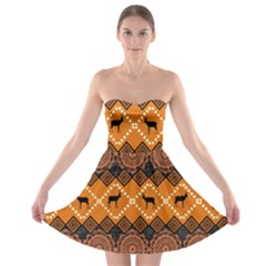 Traditiona  Patterns And African Patterns Strapless Bra Top Dress
